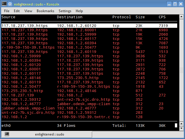 trafshow linux network monitor